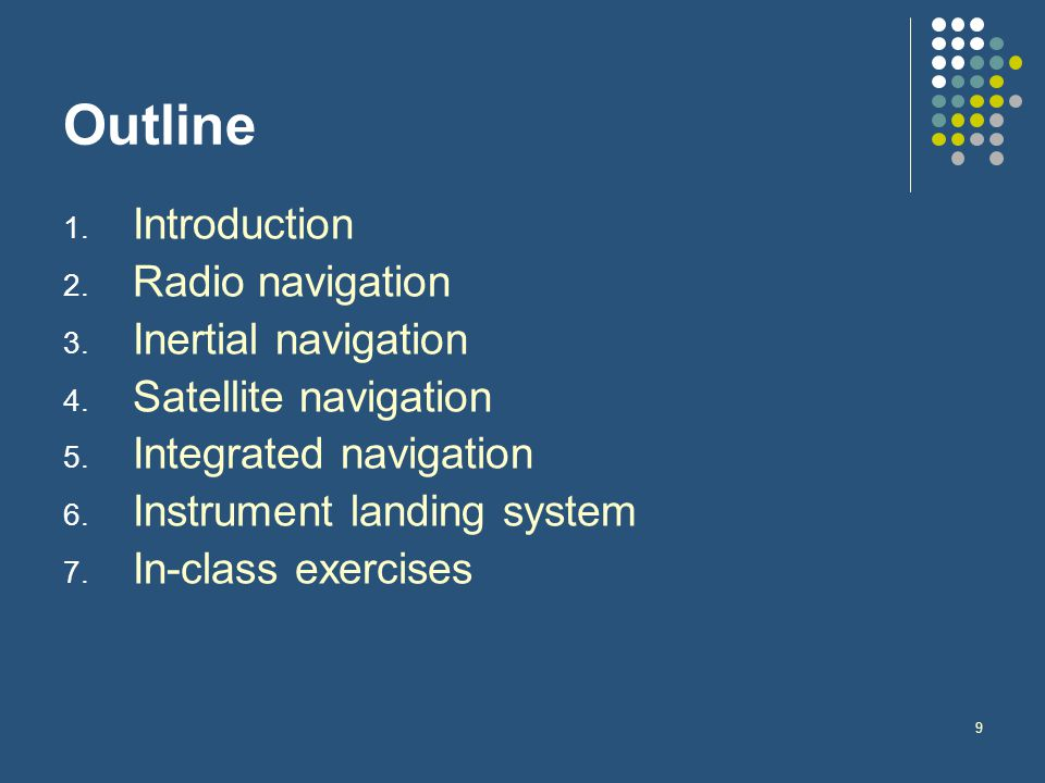 9 Outline 1. Introduction 2. Radio navigation 3. Inertial navigation 4. Satellite navigation 5. Integrated navigation 6. Instrument landing system 7.