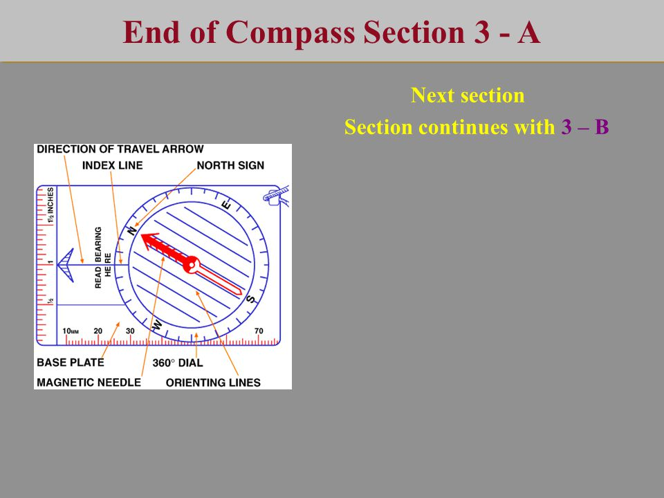End of Compass Section 3 - A Next section Section continues with 3 – B