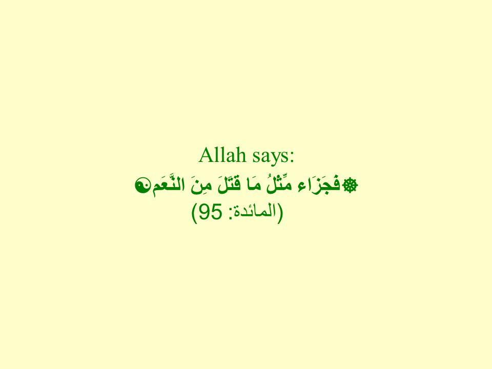Allah says:  فَجَزَاء مِّثْلُ مَا قَتَلَ مِنَ النَّعَم  ( المائدة : 95)