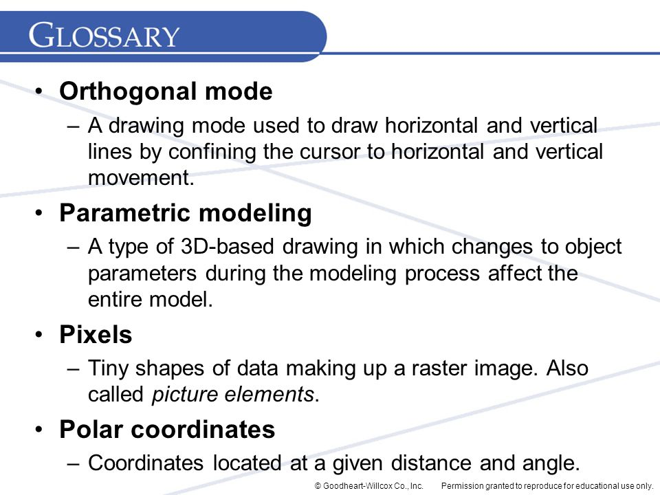 Permission granted to reproduce for educational use only.© Goodheart-Willcox Co., Inc. Orthogonal mode –A drawing mode used to draw horizontal and ver