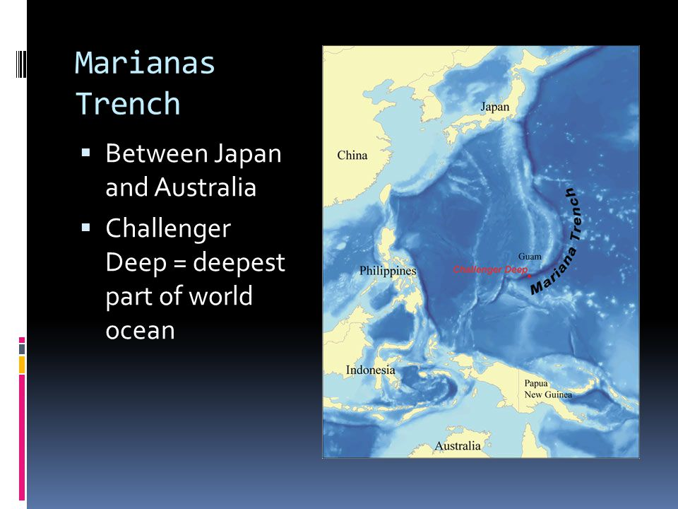Atlantic Ocean  Water Features:  Shallow basin, average 3,310 m deep  26% of world's ocean water  Broad continental margins  Large rivers enter – Amazon and Congo (25% of world's fresh water flows from these rivers)  Land Features:  Mid-Atlantic Ridge runs down the center  Part of the longest continuous mountain range in world- the Mid-Ocean Ridge