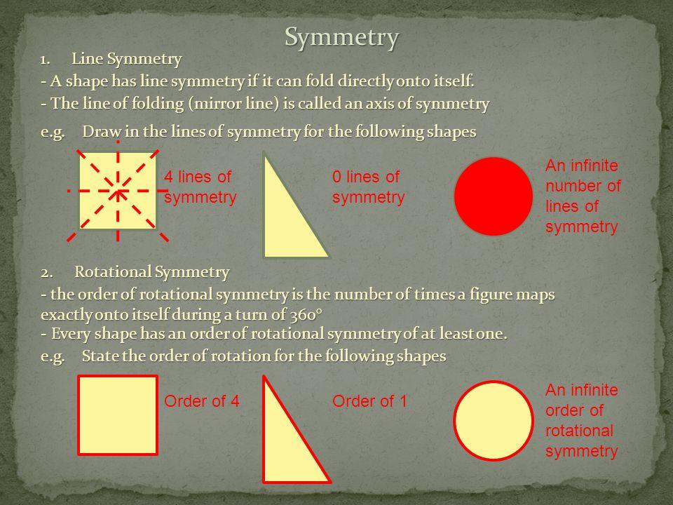 Symmetry 1. Line Symmetry - A shape has line symmetry if it can fold directly onto itself.