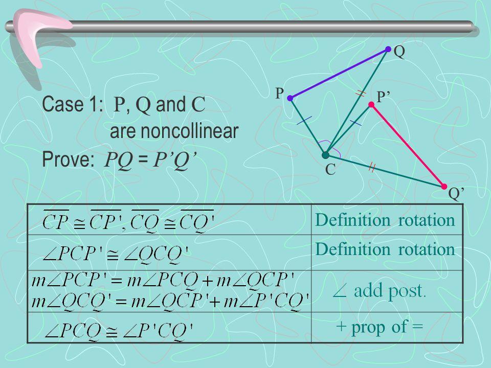 Definition rotation + prop of = Case 1: P, Q and C are noncollinear Prove: PQ = P'Q' P Q P' Q' C