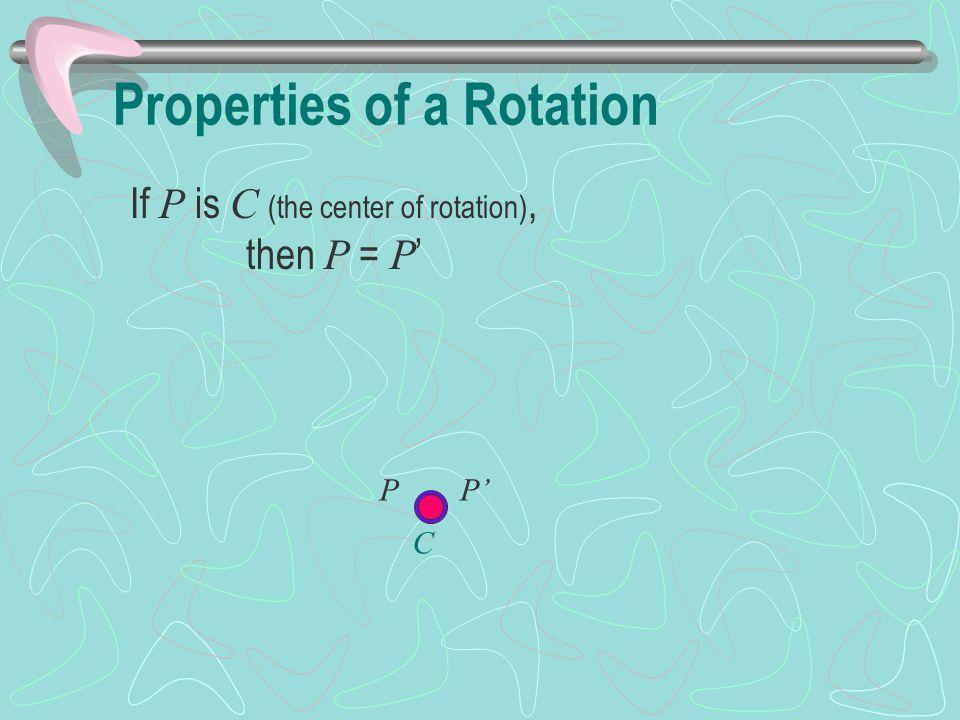 If P is C (the center of rotation), then P = P ' P C P'