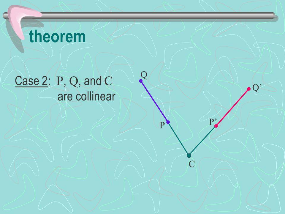 Case 2: P, Q, and C are collinear theorem P Q P' Q' C