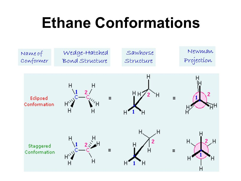 Ethane Conformations Name of Conformer Wedge-Hatched Bond Structure Sawhorse Structure Newman Projection
