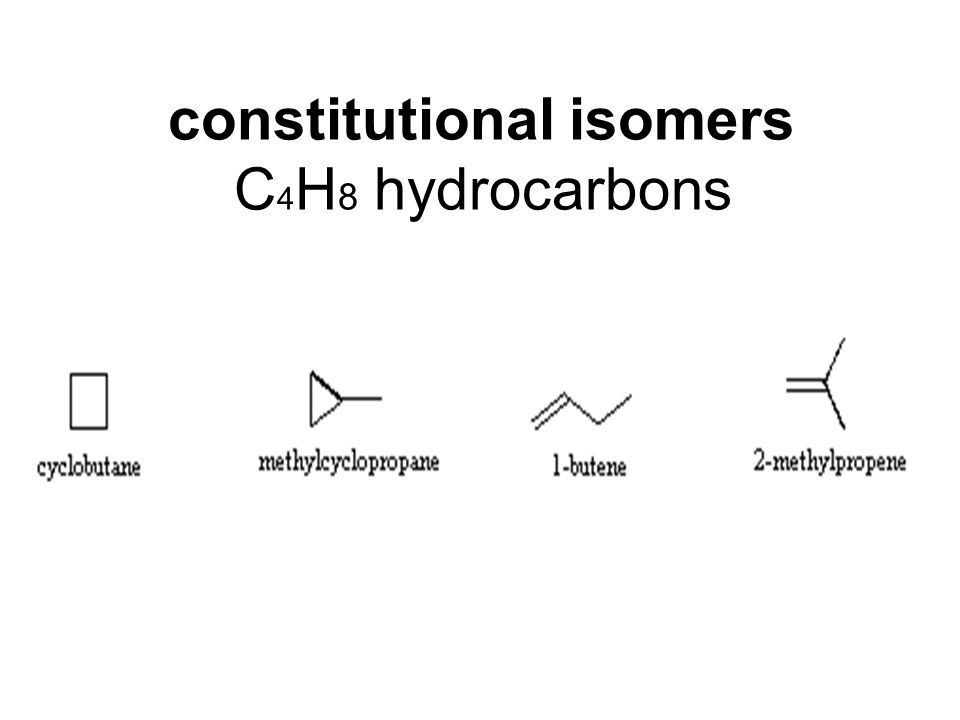 Structural isomers.* A fifth possible isomer of formula C 4 H 8 is CH 3 CH=CHCH 3.