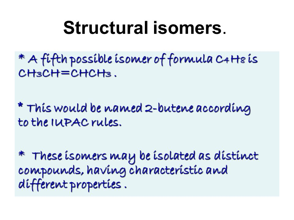 Structural isomers. * A fifth possible isomer of formula C 4 H 8 is CH 3 CH=CHCH 3.