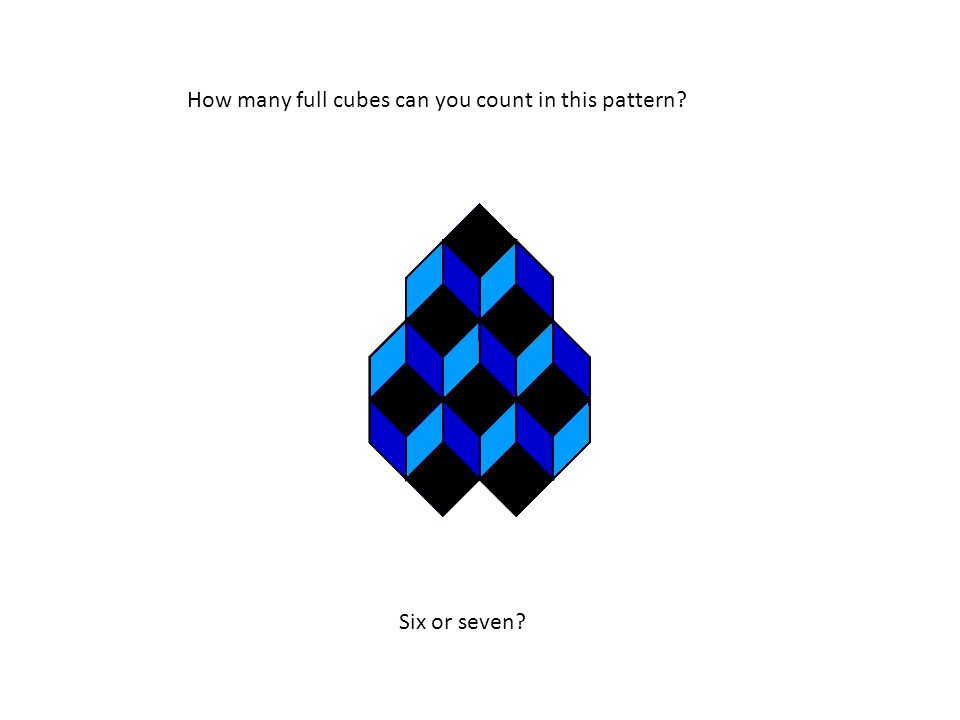 How many full cubes can you count in this pattern Six or seven