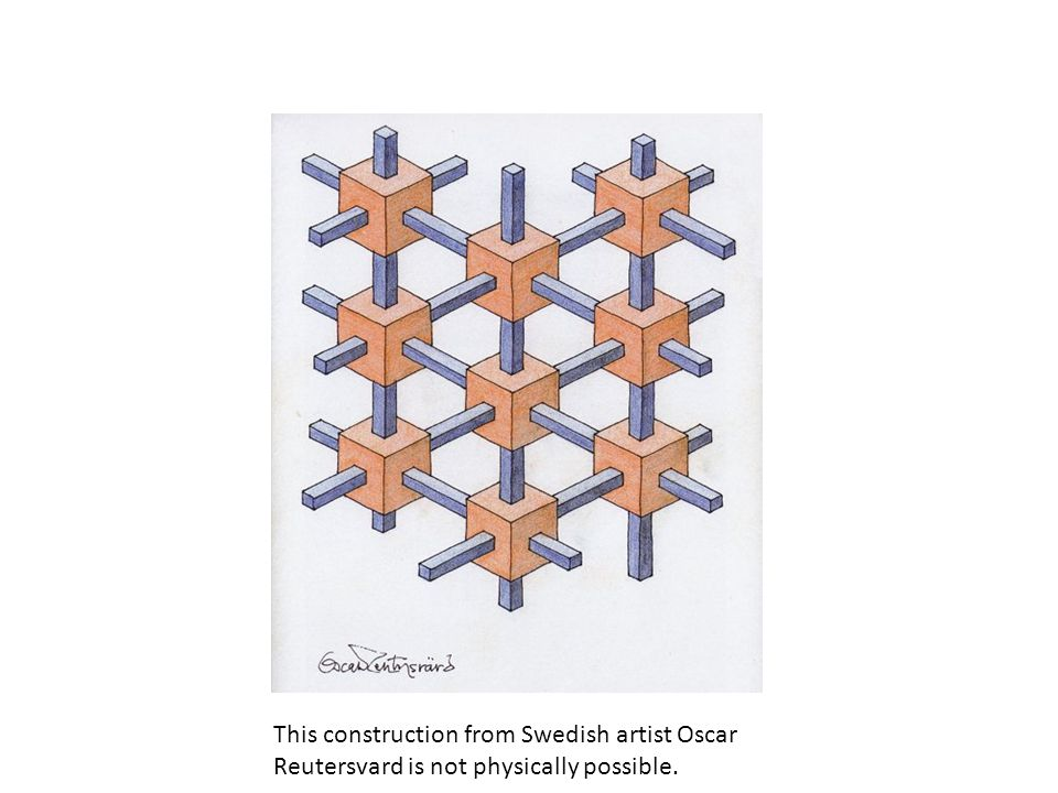 This construction from Swedish artist Oscar Reutersvard is not physically possible.