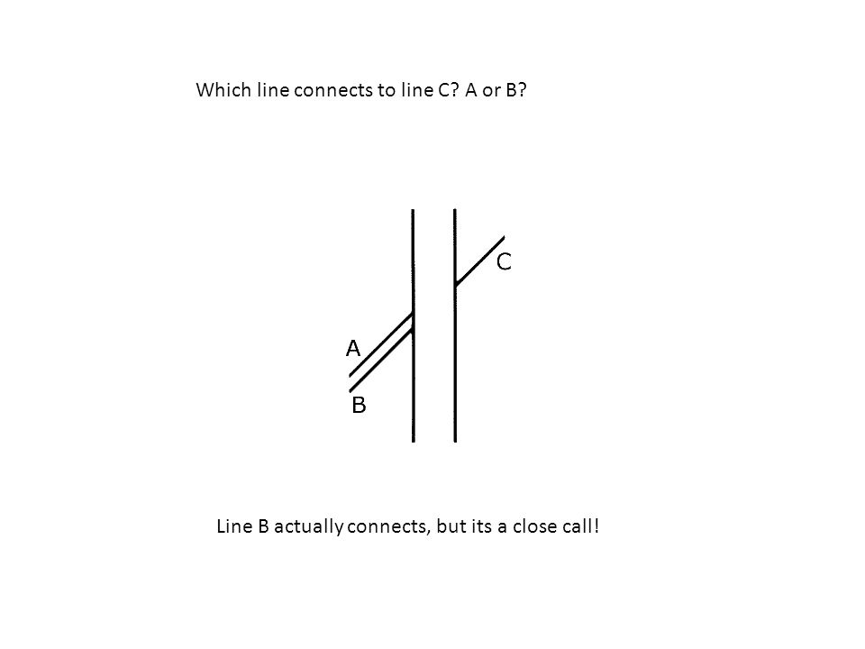 Which line connects to line C A or B Line B actually connects, but its a close call!