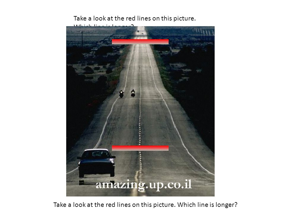 Take a look at the red lines on this picture. Which line is longer