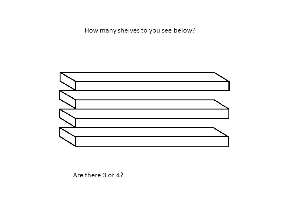 How many shelves to you see below Are there 3 or 4