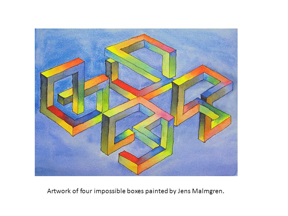Artwork of four impossible boxes painted by Jens Malmgren.