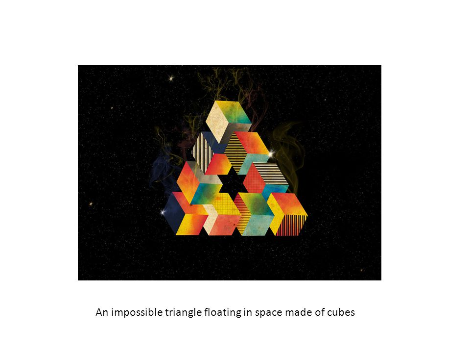 An impossible triangle floating in space made of cubes
