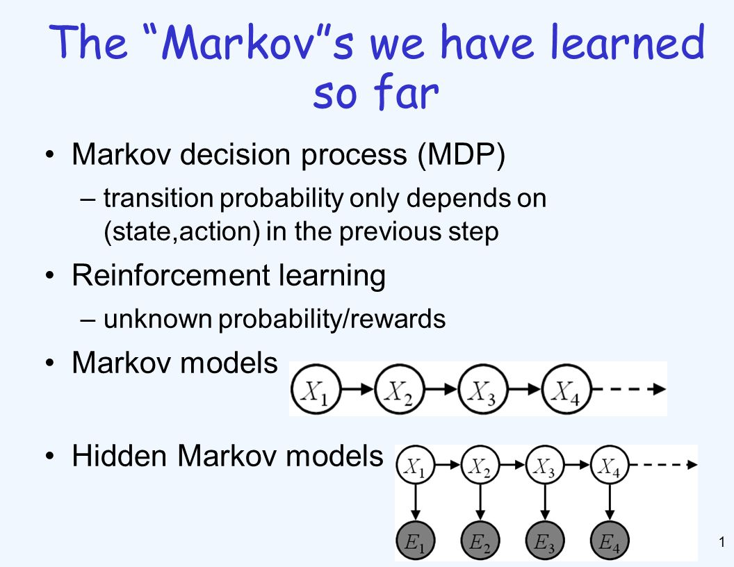 Markov Models 2 A Markov model is a chain-structured BN –Conditional probabilities are the same (stationarity) –Value of X at a given time is called the state –As a BN: –Parameters: called transition probabilities p(X 1 ) p(X|X -1 )