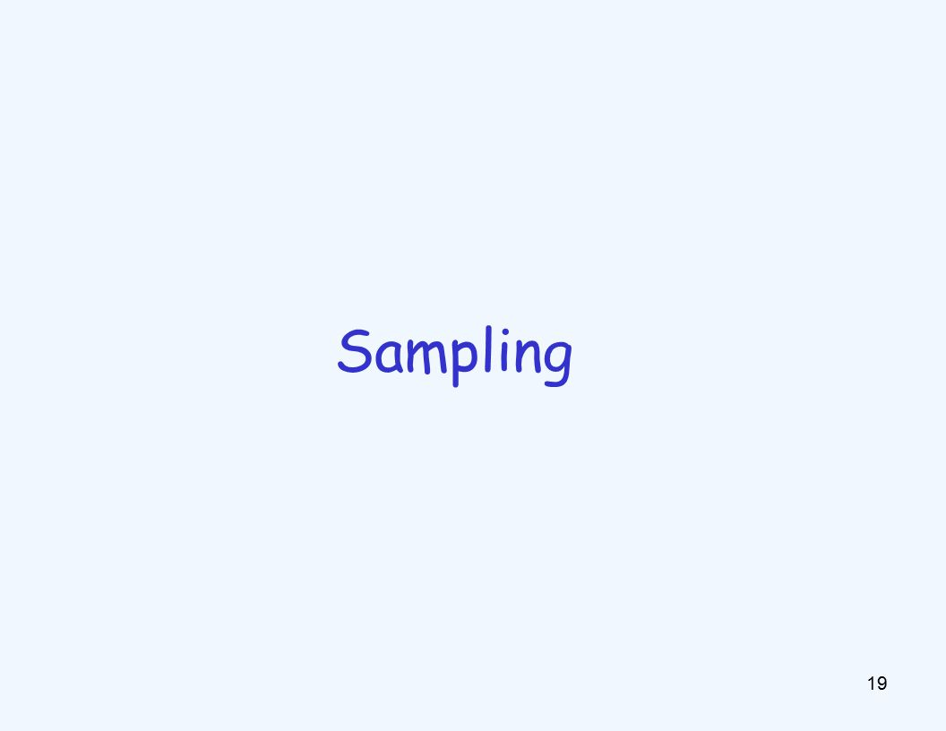 Approximate Inference 20 Sampling is a hot topic in machine learning, and it's really simple Basic idea: –Draw N samples from a sampling distribution S –Compute an approximate posterior probability –Show this converges to the true probability P Why sample.