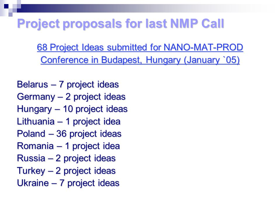 Project proposals for last NMP Call 68 Project Ideas submitted for NANO-MAT-PROD Conference in Budapest, Hungary (January `05) Belarus – 7 project ide