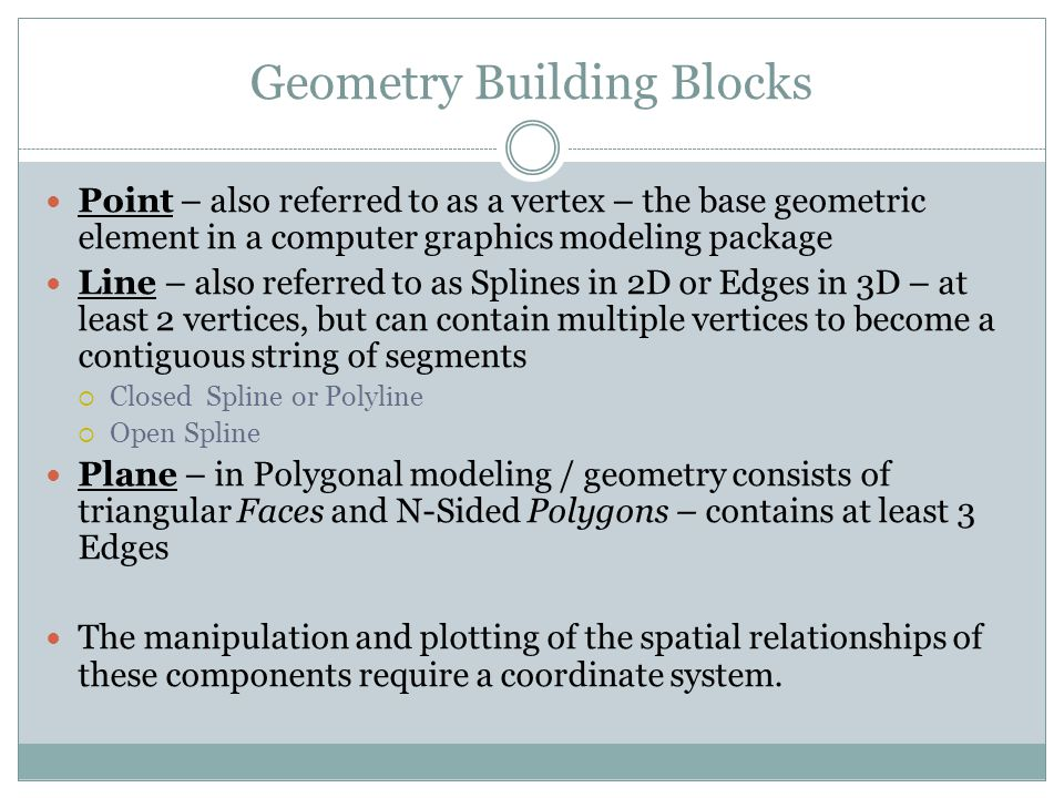 Geometry Building Blocks Point – also referred to as a vertex – the base geometric element in a computer graphics modeling package Line – also referre