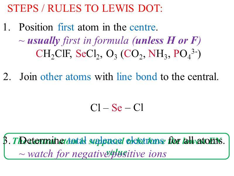 SeCl 2 - 4 = 16              Se – Cl Cl – 4.