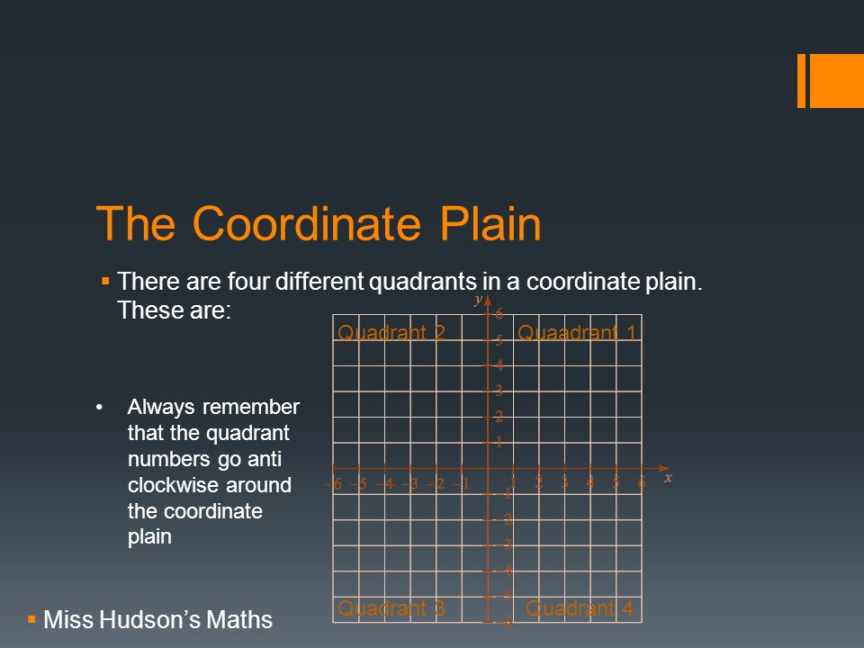 The Coordinate Plain  There are four different quadrants in a coordinate plain.