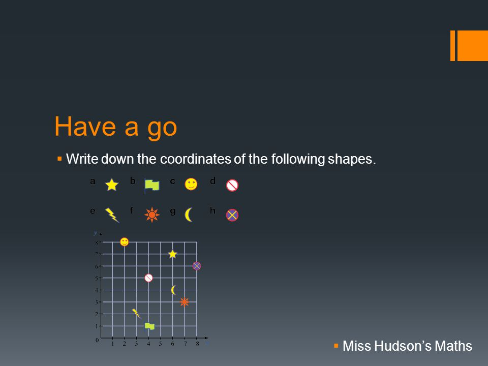 Have a go  Write down the coordinates of the following shapes.  Miss Hudson's Maths