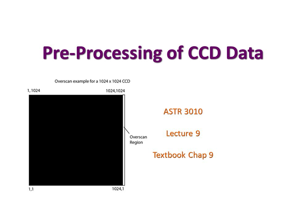 Pre-Processing of CCD Data ASTR 3010 Lecture 9 Textbook Chap 9