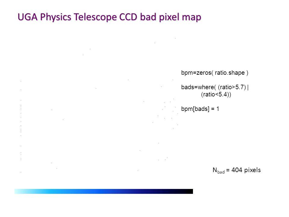 UGA Physics Telescope CCD bad pixel map N bad = 404 pixels bpm=zeros( ratio.shape ) bads=where( (ratio>5.7) | (ratio<5.4)) bpm[bads] = 1