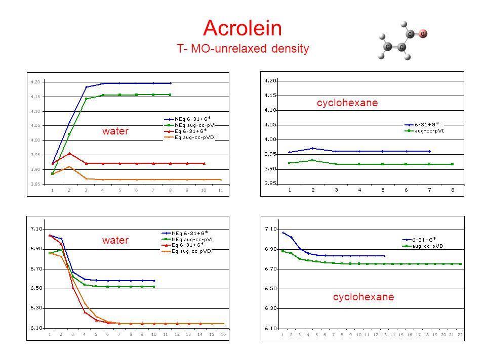 Acrolein T- MO-unrelaxed density water cyclohexane