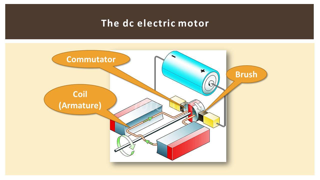 The dc electric motor Brush Commutator Coil (Armature)