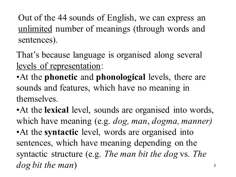3 Out of the 44 sounds of English, we can express an unlimited number of meanings (through words and sentences).
