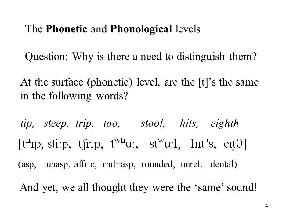 4 At the surface (phonetic) level, are the [t]'s the same in the following words.