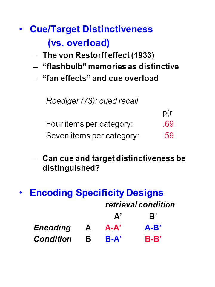 """Cue/Target Distinctiveness (vs. overload) –The von Restorff effect (1933) –""""flashbulb"""" memories as distinctive –""""fan effects"""" and cue overload Roedige"""