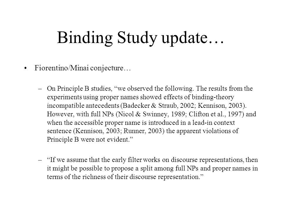 Binding Study Materials from Badecker & Straub are available 6 sets of 4, 12 fillers, comprehension questions –A: Clare, Diogo, Valérie –B: Matt, Ivan, Heather –C: Lisa, Takuya, Hajime, Kaori –D: Rob, Chunyuan, Utako