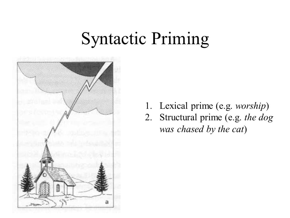 Syntactic Priming 1.Lexical prime (e.g. worship) 2.Structural prime (e.g.