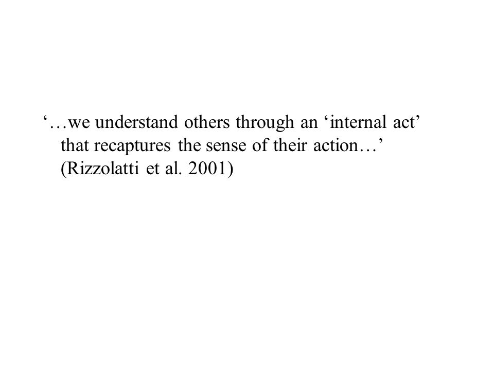 '…we understand others through an 'internal act' that recaptures the sense of their action…' (Rizzolatti et al.