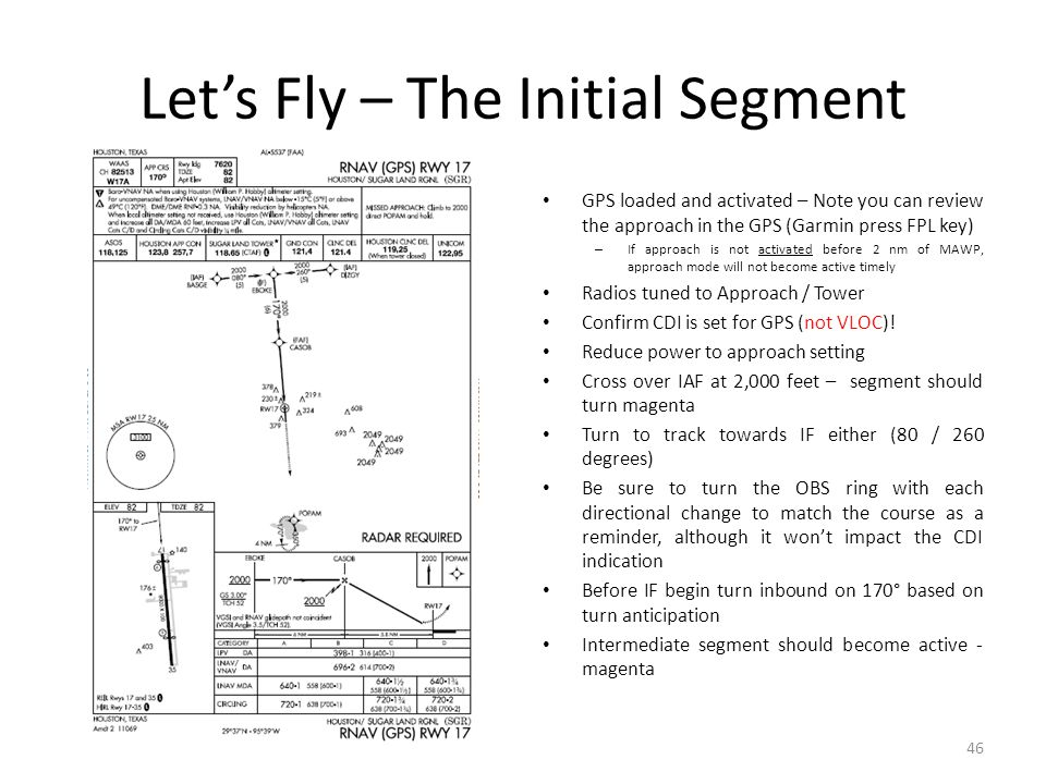 Let's Fly – The Initial Segment GPS loaded and activated – Note you can review the approach in the GPS (Garmin press FPL key) – If approach is not act