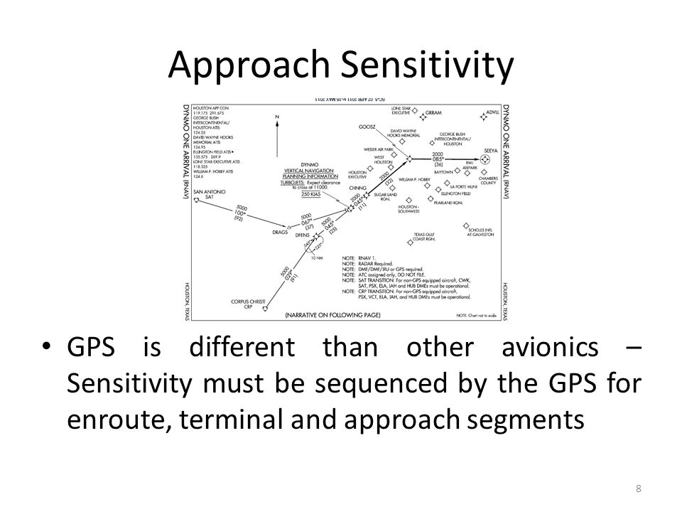 Approach Sensitivity GPS is different than other avionics – Sensitivity must be sequenced by the GPS for enroute, terminal and approach segments 8