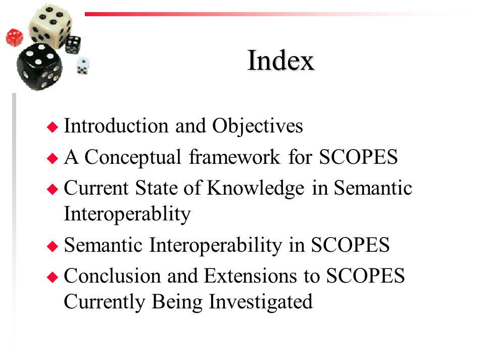 Index u Introduction and Objectives u A Conceptual framework for SCOPES u Current State of Knowledge in Semantic Interoperablity u Semantic Interopera