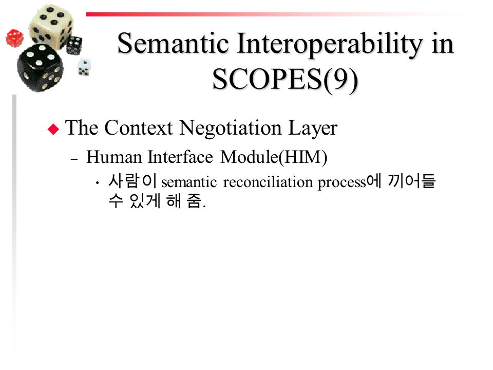 Semantic Interoperability in SCOPES(9) u The Context Negotiation Layer – Human Interface Module(HIM) 사람이 semantic reconciliation process 에 끼어들 수 있게 해 줌.