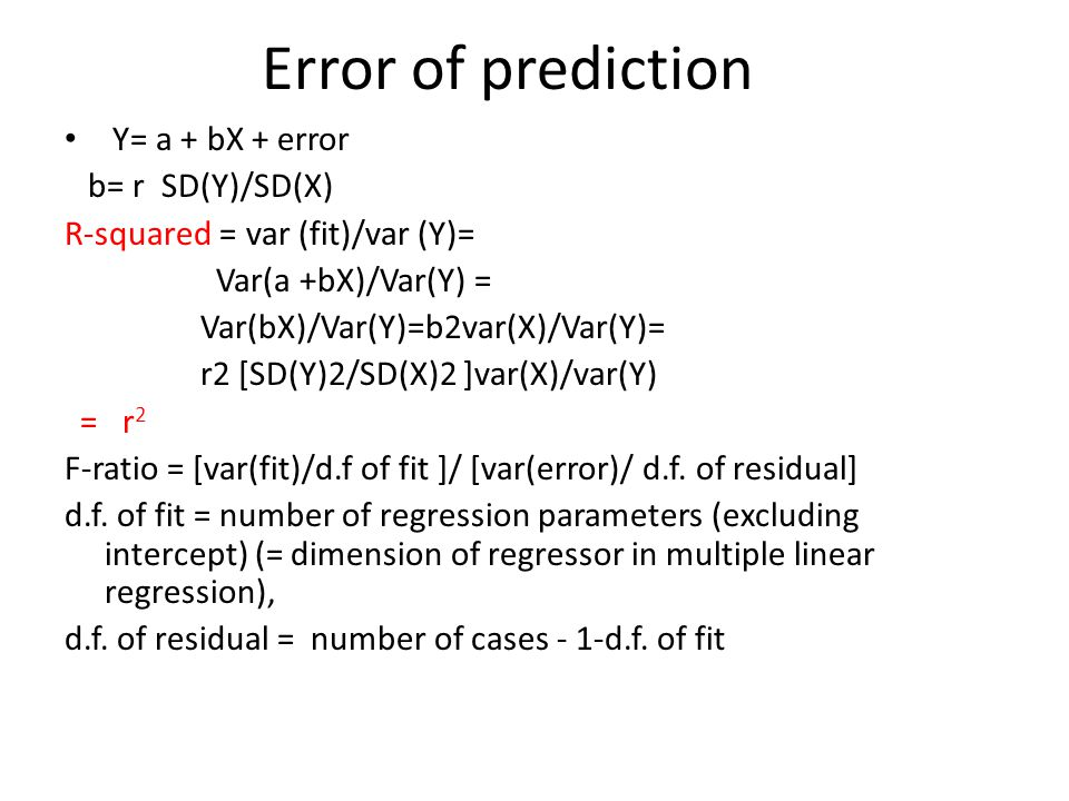Required conditions for regression effect If E(Y|X) is linear in X, then E(Y|X) = a+ b X b= given before If SD(X)=SD(Y), then b= r which is between 0 and 1 for positive correlated case.