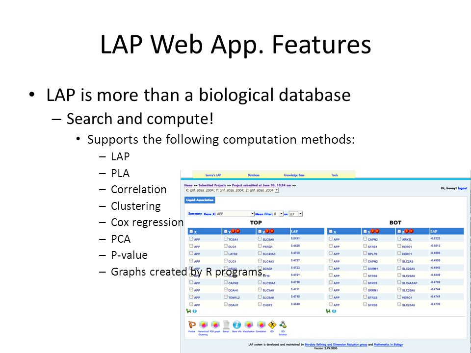 Technologies behind LAP Web App. Distributed computing – Computation is performed by the cluster of computers in MIB group User does not need a powerf