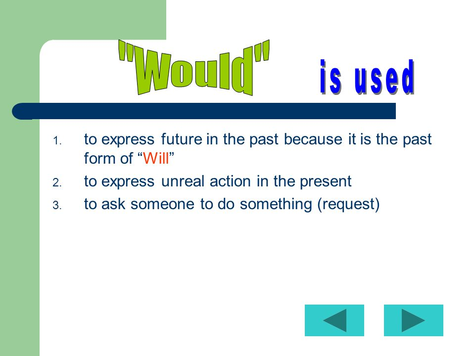 1.to express future in the past because it is the past form of Will 2.