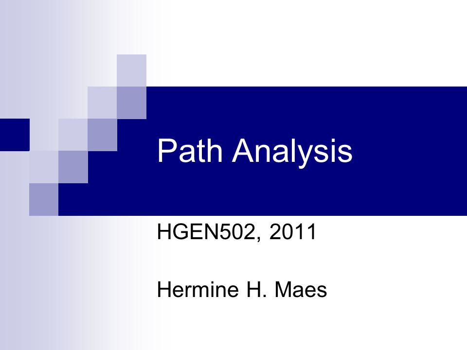 Path Analysis HGEN502, 2011 Hermine H. Maes