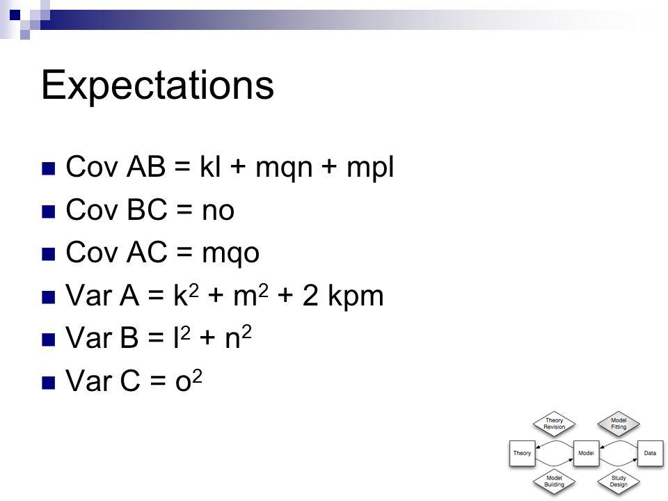 Expectations Cov AB = kl + mqn + mpl Cov BC = no Cov AC = mqo Var A = k 2 + m 2 + 2 kpm Var B = l 2 + n 2 Var C = o 2