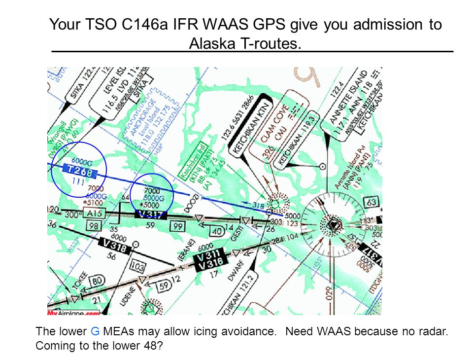Your TSO C146a IFR WAAS GPS give you admission to Alaska T-routes.