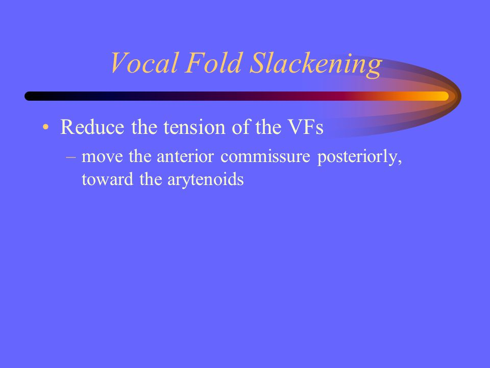 Vocal Fold Slackening Reduce the tension of the VFs –move the anterior commissure posteriorly, toward the arytenoids