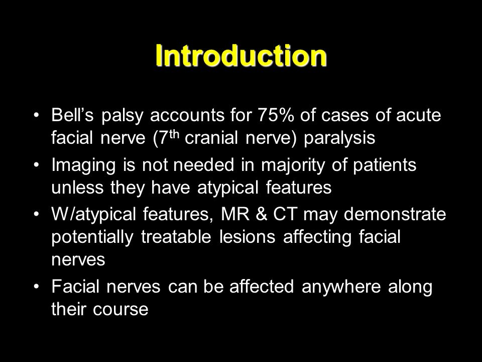 Infectious causes Acute facial paralysis may result from bacterial or tuberculous infection of middle ear, mastoid & necrotizing otitis externa Incidence of facial paralysis with otitis media: 0.16% –Infection extends via bone dehiscences to nerve in fallopian canal leading to swelling, compression & eventually vascular compromise & ischemia Immune compromised patients are at risk for pseudomona infection Poor prognosis (complete recovery is < 50%)