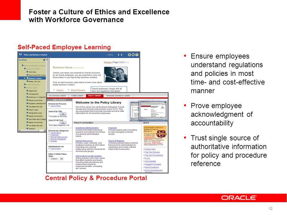 12 Foster a Culture of Ethics and Excellence with Workforce Governance Ensure employees understand regulations and policies in most time- and cost-eff