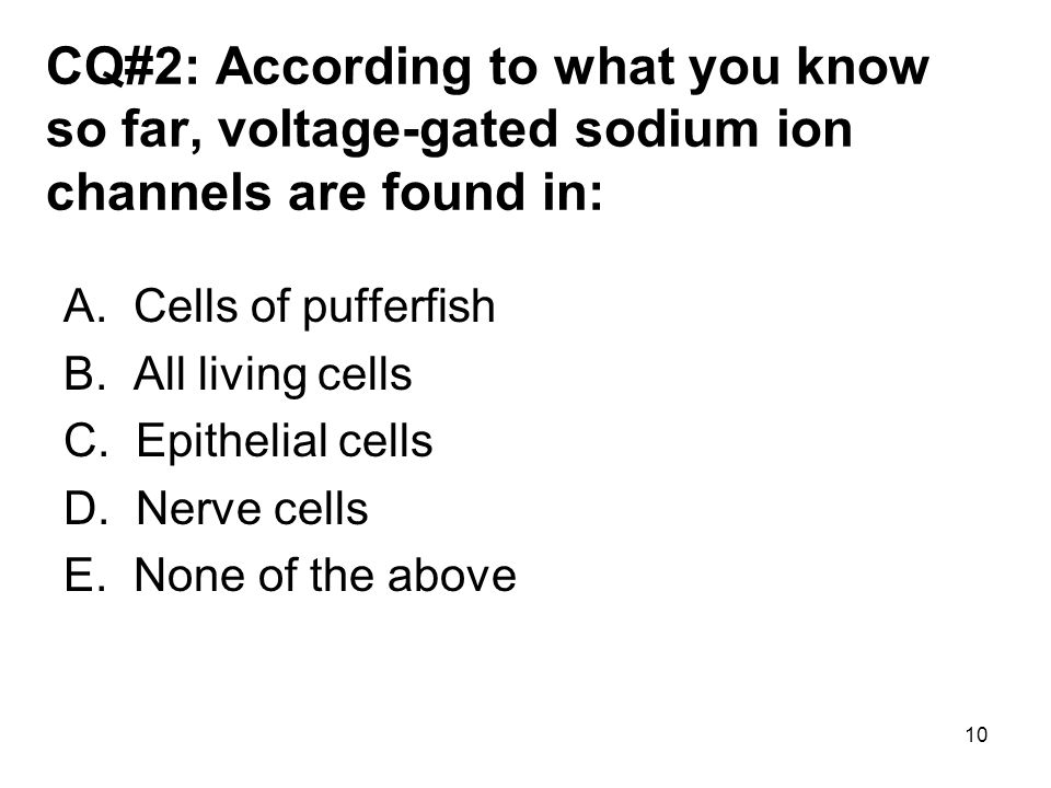 10 CQ#2: According to what you know so far, voltage-gated sodium ion channels are found in: A. Cells of pufferfish B. All living cells C. Epithelial c